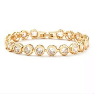 Bezel Set Diamond and Gold Link Tennis Bracelet